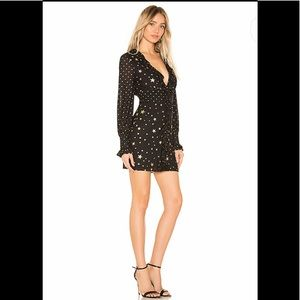 Lovers + Friends Revolve Joy Mini Dress Black&Gold